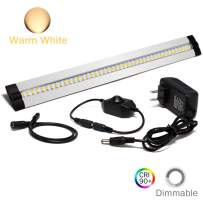 Ultra Thin LED Under Cabinet/Counter Kitchen Lighting Plug-in, Dimmable 2 Coin Thickness LED Light with 42 LEDs, Easy Installation Warm White 12V/1A 5W/450LM CRI90, All in Kit