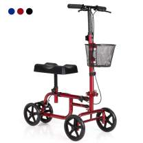 Giantex Steerable Lightweight Knee Scooter, Foldable All Terrain Knee Walker with Basket, Dual Brakes, Scooter for Foot Ankle Injuries, Crutches Alternative, Support up to 300 (Red)