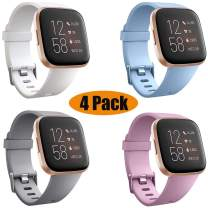 SZBAMI 4 Packs Bands Compatible with Fitbit Versa/Versa 2/Versa Lite/Special Edition Soft Silicone Sport Strap Replacement Wristband for Fitbit Versa Smart Watch Women Men Small Large