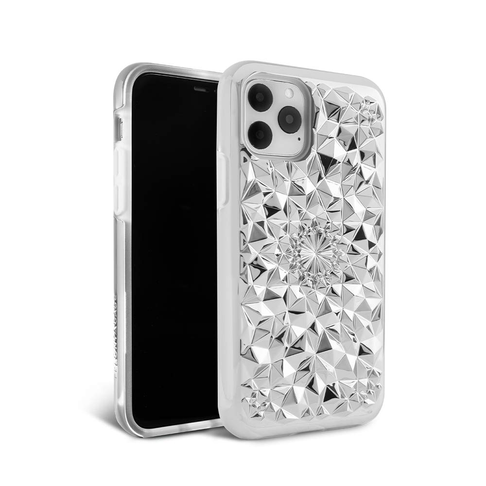 FELONY CASE iPhone 11 Pro Max Case Silver Kaleidoscope Case - 3D Geometric 360° Shock Absorbing Protective iPhone 11 Pro Max Case Protects Screen & Body. Stylish iPhone Covers
