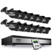 ZOSI 16CH 1080P Security Camera System Outdoor with 2TB Hard Drive 16Channel 1080P HD DVR Recorder with 12pcs 1920TVL 1080P Weatherproof CCTV Cameras,120ft Night Vision,Motion Alert,Remote Access