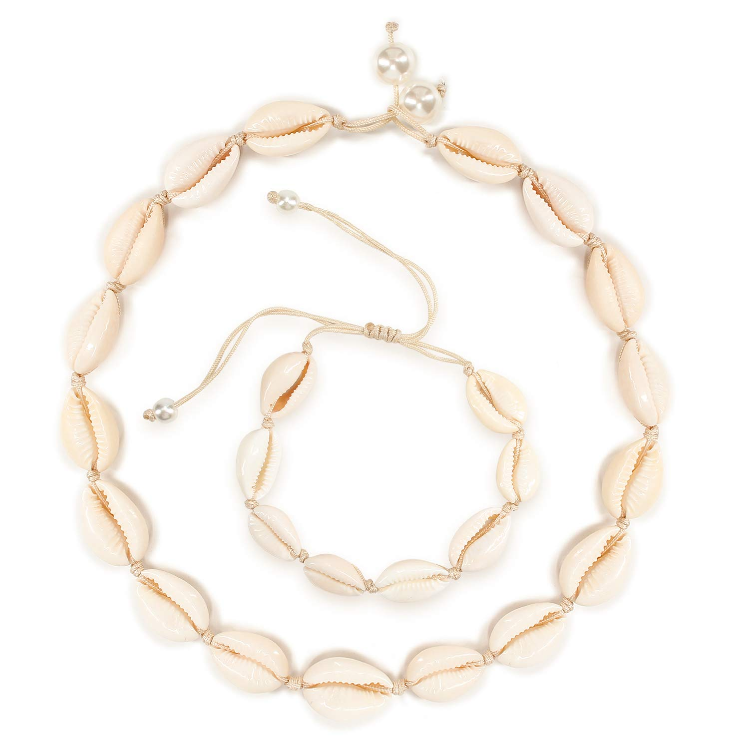 FERTOY Cowrie Shell Choker Necklace for Woman Beach Shell Necklace Bracelet Set Necklace for Summer