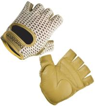AERO|TECH|DESIGNS ATD Gel Padded Leather Cotton Crochet Fingerless Cycling Gloves