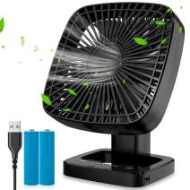 AQSURE Desk Fan 4 Wind Speed Adjustable & 3 Timing Mode Portable Table Fan Quiet Operation USB Charging Battery Adjustable Head 90°Rotatable Mini Personal Fan for Home Office Bedroom