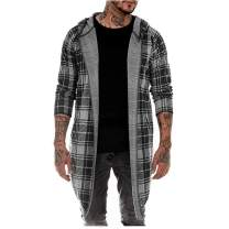 Mens Cardigan Sweatshirt Blouse Plaid Print Hooded Long Sleeve Trench Coat Autumn Cotton Blend Jacket Outerwear