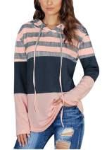 Women's Long Sleeve Hoodie Sweatshirt Striped Color Block Pullover Tops