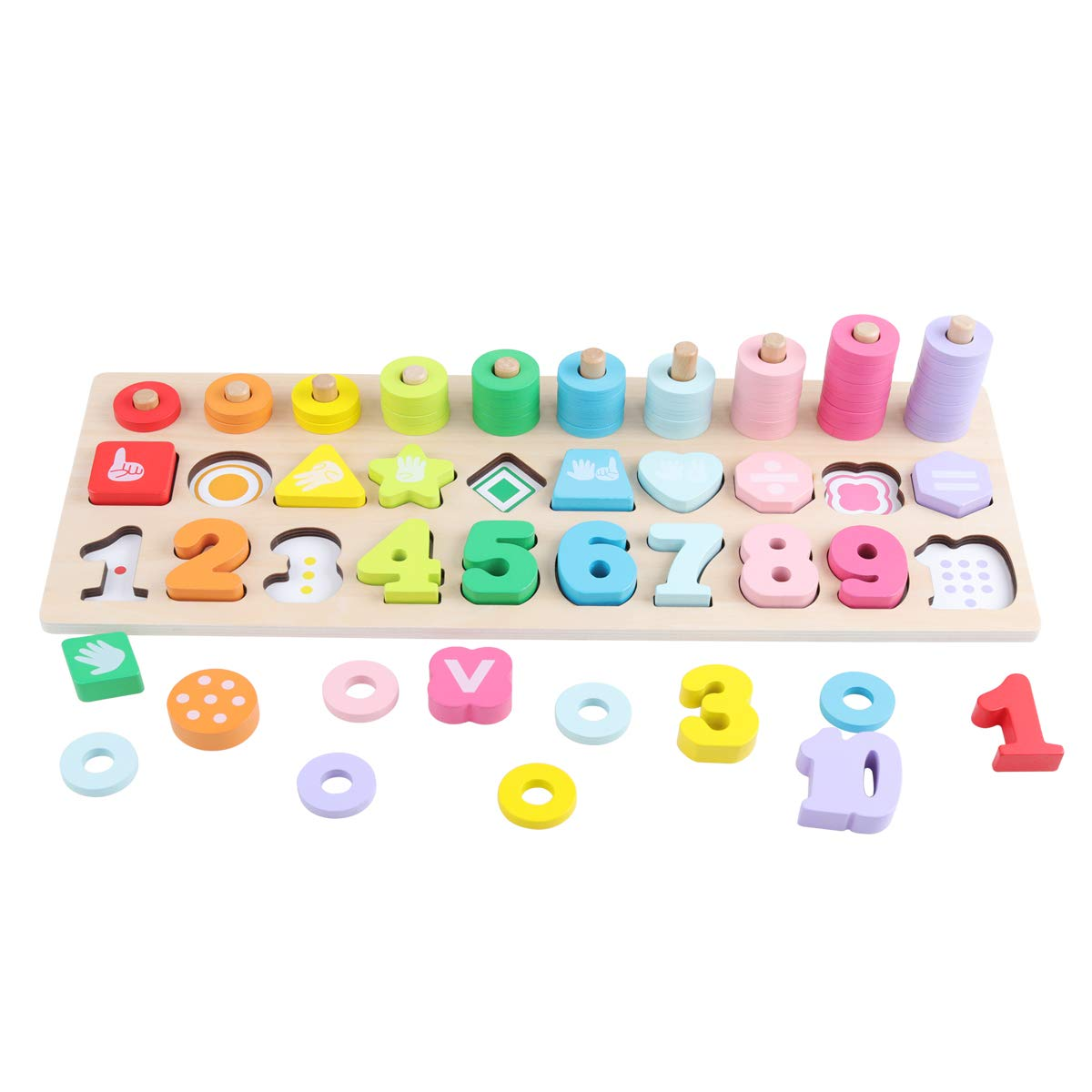 GEMEM Big Wooden Number Puzzle Sorting Montessori Toys for Toddlers Shape Sorter Counting Games for Kids 3 4 5 Year Olds Preschool Early Learning Educational Children Toy