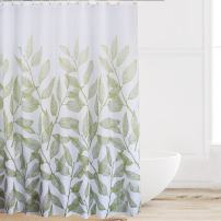 Eforcurtain Extra Long 72 by 78 Inches Summer Plant Style Shower Curtain Heavy Duty Polyester Water Repellent, White Bath Curtains for Kids and Teens with Rust Proof Metal Grommets