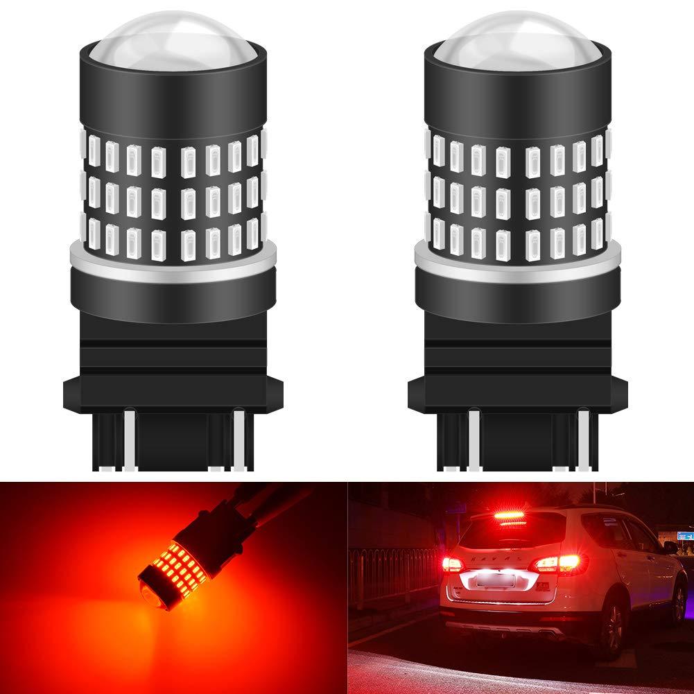 KATUR 3157 3047 3057 3155 3156 Led Light Bulb Super Bright 900 Lumens High Power 3014 78SMD Lens LED Bulbs for Brake Turn Signal Tail Backup Reverse Brake Light Lamp,Brilliant Red(Pack of 2)