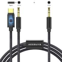 2 in 1 USB C to 3.5mm Aux Cable 3.9 ft, Accguys Auxiliary USB Type C Male to Dual 3.5mm Male Audio Jack Adapter Cord Compatible with Headphones, iPods, iPhones, iPads, Home/Car Stereos and More(Black)