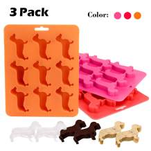 BPA Free Ice Cube Trays and Container Durable and Dishwasher Safe Mold Flexible Dachshund Dog Shape Tray for Home,Bar,Part,Halloween Summer Use (3 pack three color)