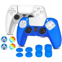 OUBANG PS5 Controller Skin with FPS Thumb Grips for Sony Dualsense,Anti-Slip Silicone Protective Cover Case for PS5 Gamepad (2 Pack Crystal White and Blue Skin with 12 x Joystick Caps)