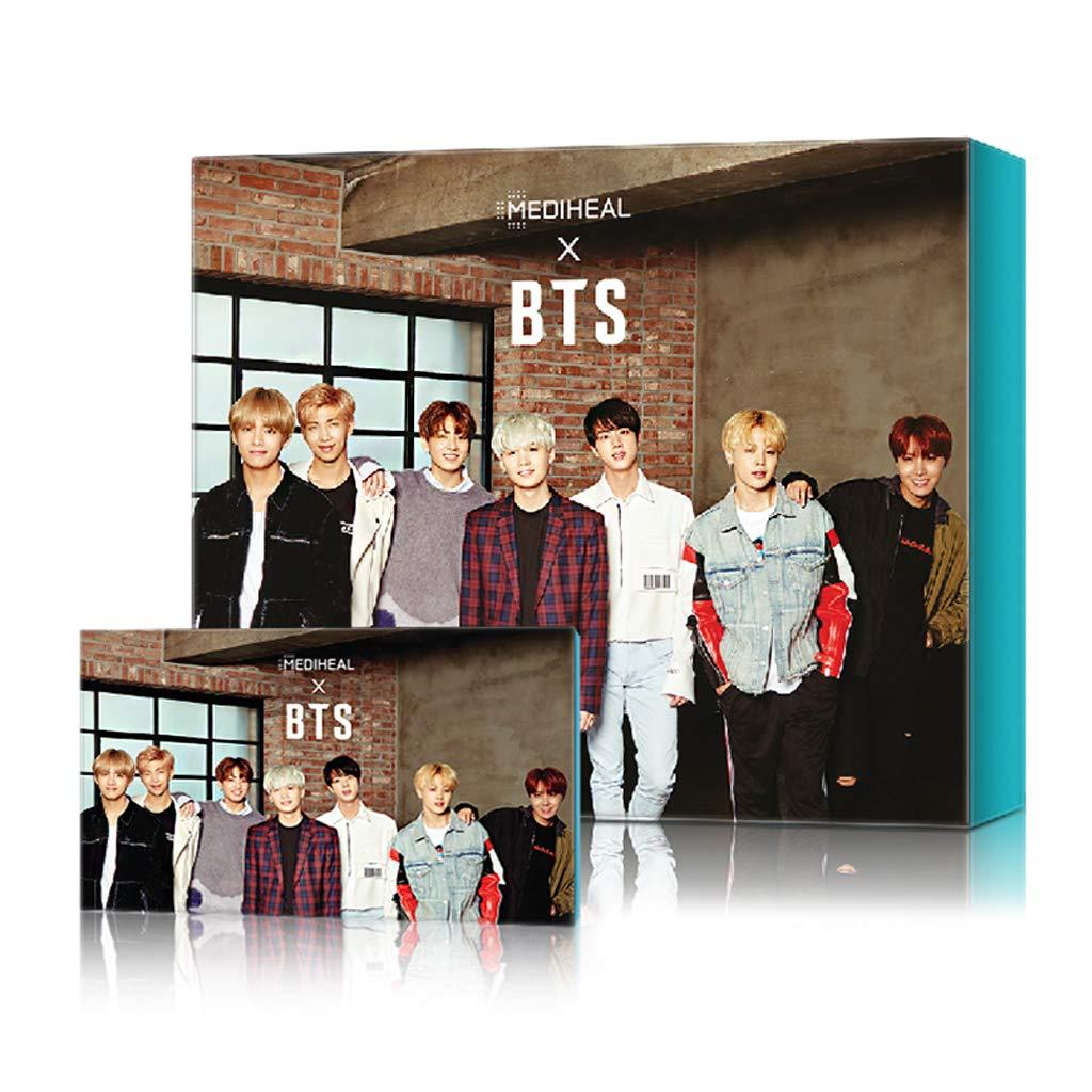 MEDIHEAL X BTS Facial Mask Sheet Special Set/Mask Sheet 10ea + BTS Photocard 14ea (04 Skin Soothing Care)