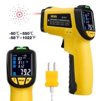 URCERI Infrared Thermometer -58°F~1022°F (-50°C~550°C) Digital IR Temperature Gun Non Contact Laser with Color Display K-Type Thermocouple for Cooking Kitchen Food Meat Grill