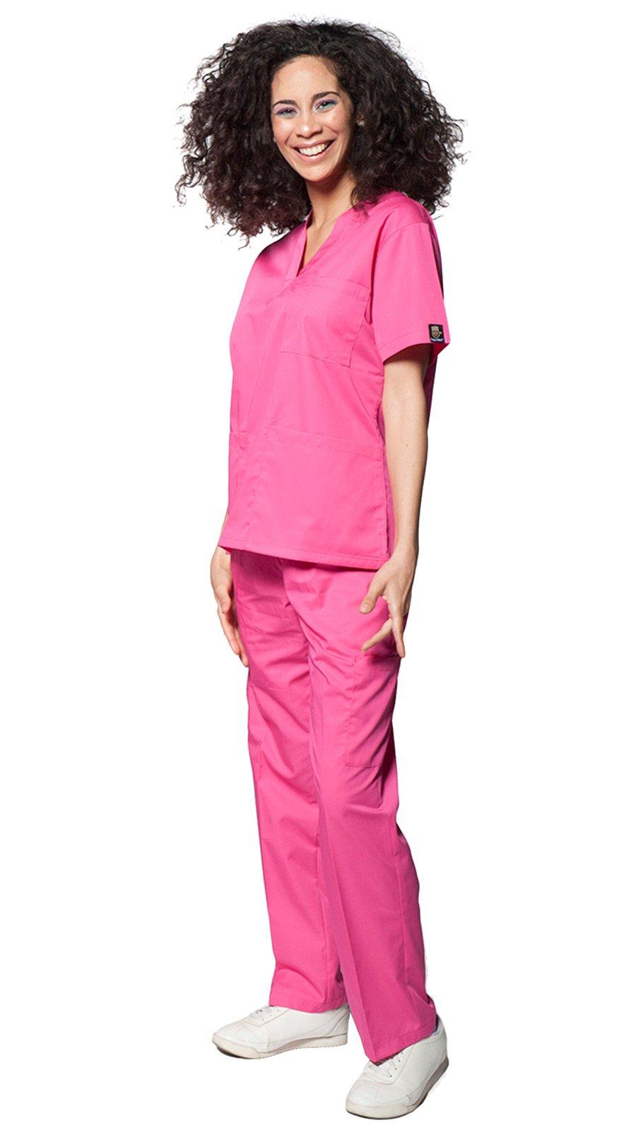 Dress A Med Classic 7 Pocket Basic V-Neck Uniform Scrubs 2 Piece Set Top & Pants