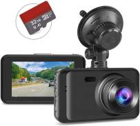 """Dash Camera with SD Card Included, Dash Cam Full HD 1080P Dashcams for Cars Front in Car Camera with Night Vision 170°Wide Angle 3""""IPS Screen Loop Recording G-Sensor Motion Detection Parking Monitor"""