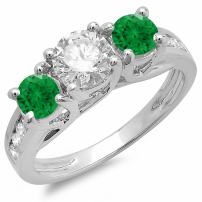 Dazzlingrock Collection 14K Round Green Emerald & White Diamond Bridal 3 Stone Engagement Ring, White Gold