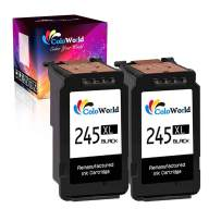 ColoWorld Re-Manufactured 245 XL Black Ink Cartridge Replacement for Canon 245XL PG-245XL PG245 Used in Pixma MG2520 TR4520 TS302 TS3120 TS202 MX492 MG2525 MG2920 MG2922 MX490 MG2522 MG3020 (2 Black)
