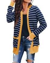TECREW Women's Long Sleeve Leopard Cardigans Open Front Striped Sweater Outwears