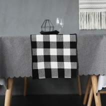 Wolala Home Cotton Hand Woven Black White Buffalo Check Table Runner Heat Resistant Table Runner for Kitchen Dinner Parties,Indoor/Outdoor (13 x 72 inch)