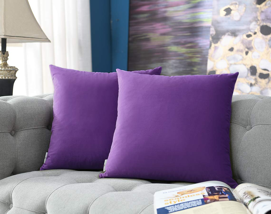 COMFORTLAND Throw Pillow Covers 20x20 Violet: 2 Pack Cozy Soft Velvet Square New Year/Christmas Decorative Pillow Cases for Farmhouse Sofa Couch Bed Chair Home Decor Decorations