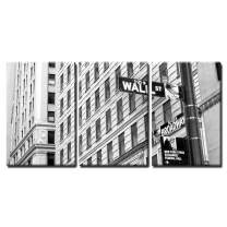"""wall26 - 3 Piece Canvas Wall Art - Sign on Wall Street in New York City - Modern Home Decor Stretched and Framed Ready to Hang - 24""""x36""""x3 Panels"""