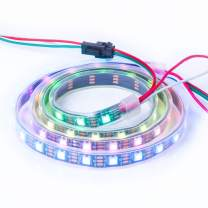 BTF-LIGHTING WS2812B ECO RGB Alloy Wires 5050SMD Individual Addressable 3.3FT 60(2x30) Pixels/m Flexible Black PCB Full Color LED Pixel Strip Dream Color IP67 Waterproof DIY Projects, etc Only DC5V