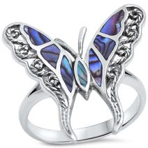 Oxford Diamond Co Simulated Abalone Butterfly .925 Sterling Silver Ring Sizes 5-12