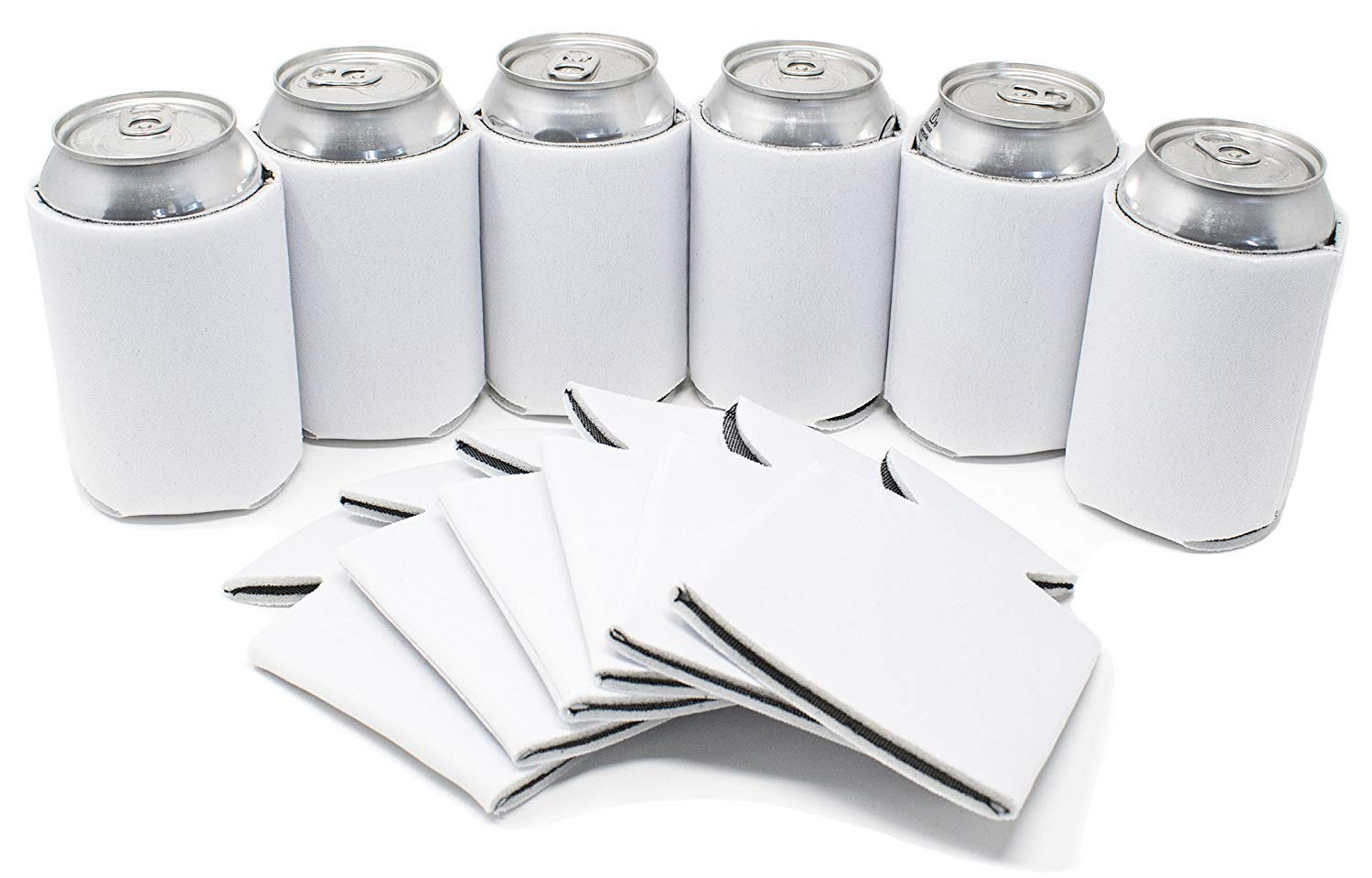 TahoeBay 25 Blank Beer Can Coolers, Plain Bulk Collapsible Soda Cover Coolies, DIY Personalized Sublimation Sleeves for Weddings, Bachelorette Parties, Funny HTV Party Favors (White, 25)