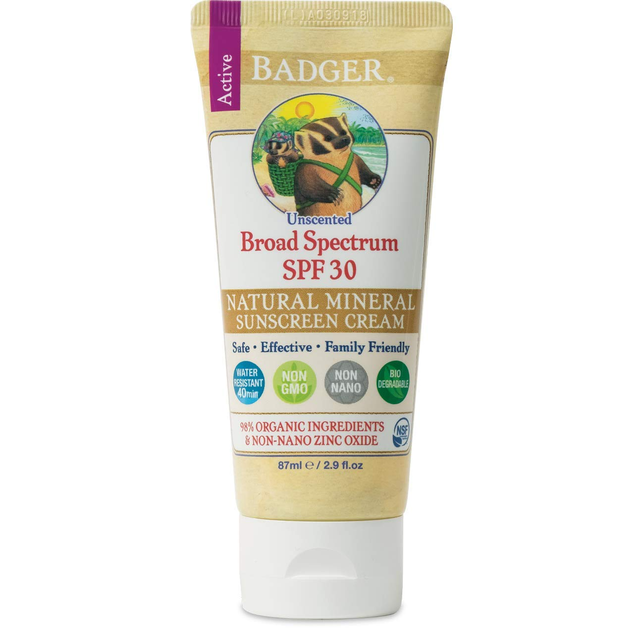 Badger - SPF 30 Zinc Oxide Sunscreen Cream - Unscented - Broad Spectrum Water Resistant Reef Safe Sunscreen, Natural Mineral Sunscreen with Organic Ingredients 2.9 fl oz
