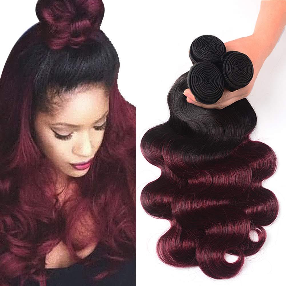 Bk Beckoning 1b 99j Ombre Body Wave Human Hair Bundles Dark Roots To Burgundy 100g/Bundle Unprocessed Brazilian Virgin Hair 3 Pcs Wavy Weave For Women (10 12 14 Inches, 300g)
