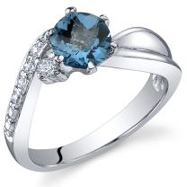 Ethereal Curves 1.00 carats London Blue Topaz Ring in Sterling Silver Rhodium Nickel Finish Sizes 5 to 9