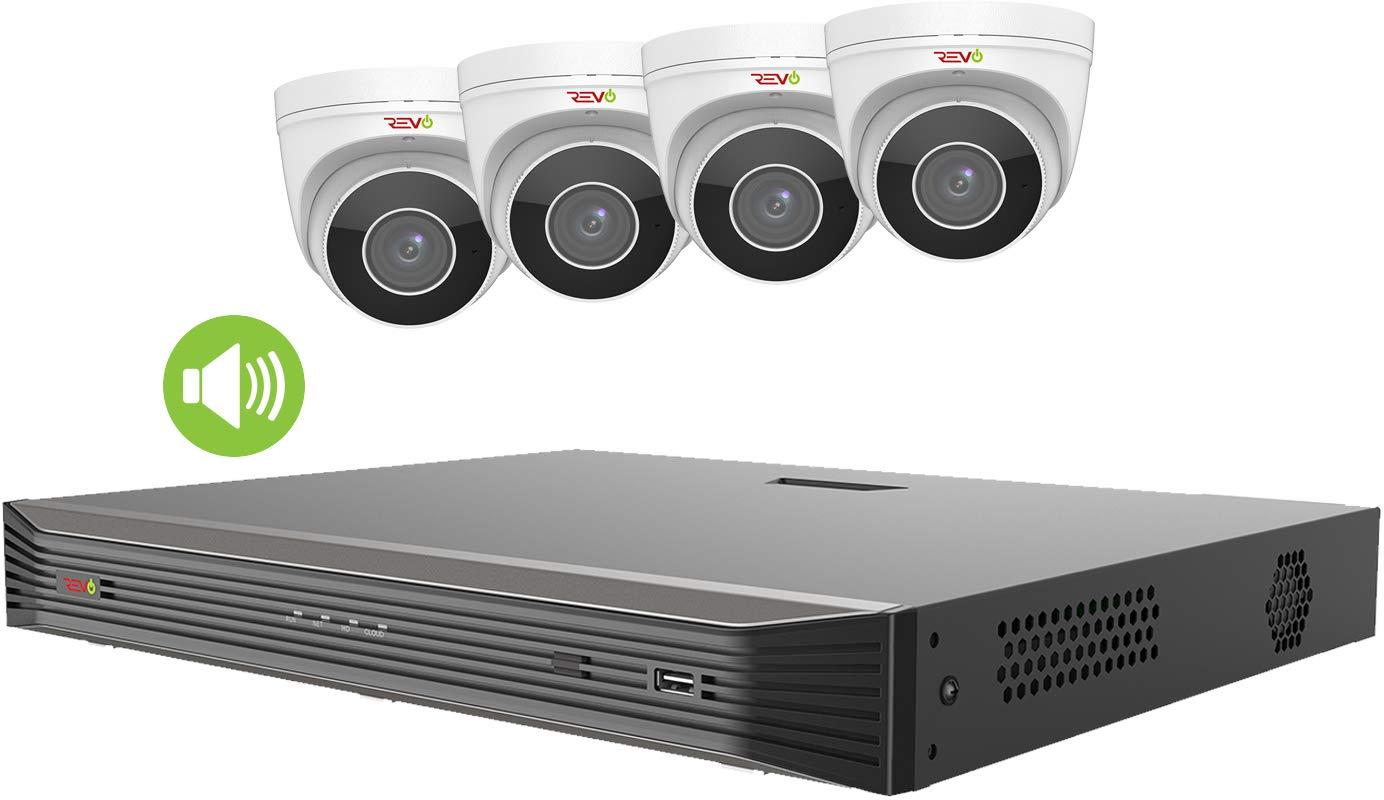 Revo America Ultra HD 8 Ch. 2TB HDD IP NVR Video Surveillance System, 4 x 4K IP Turret Audio Security Cameras (Motorized Varifocal Lens) - Remote Access via Smart Phone, Tablet, PC & MAC