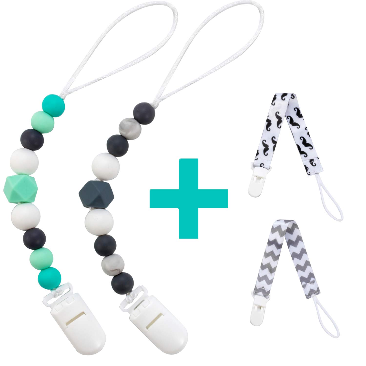 Silicone Pacifier Clip for Baby Boys & Girls, 4 Pack Paci Clips Teething Beads BPA Free Binky Holder for Teether Toys Birthday Baby Shower Gift (Green, Grey)