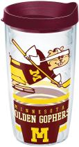 Tervis 1283868 Minnesota Golden Gophers Retro Hockey Tumbler with Wrap and Maroon Lid 16oz, Clear