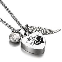 HooAMI Cremation Jewelry for Ashes Birthstone Heart Urn Necklace - Engraved Alway in My Heart
