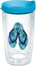 Tervis Sequins Flip Flops Insulated Tumbler with Emblem and Turquoise Lid, 16oz, Clear