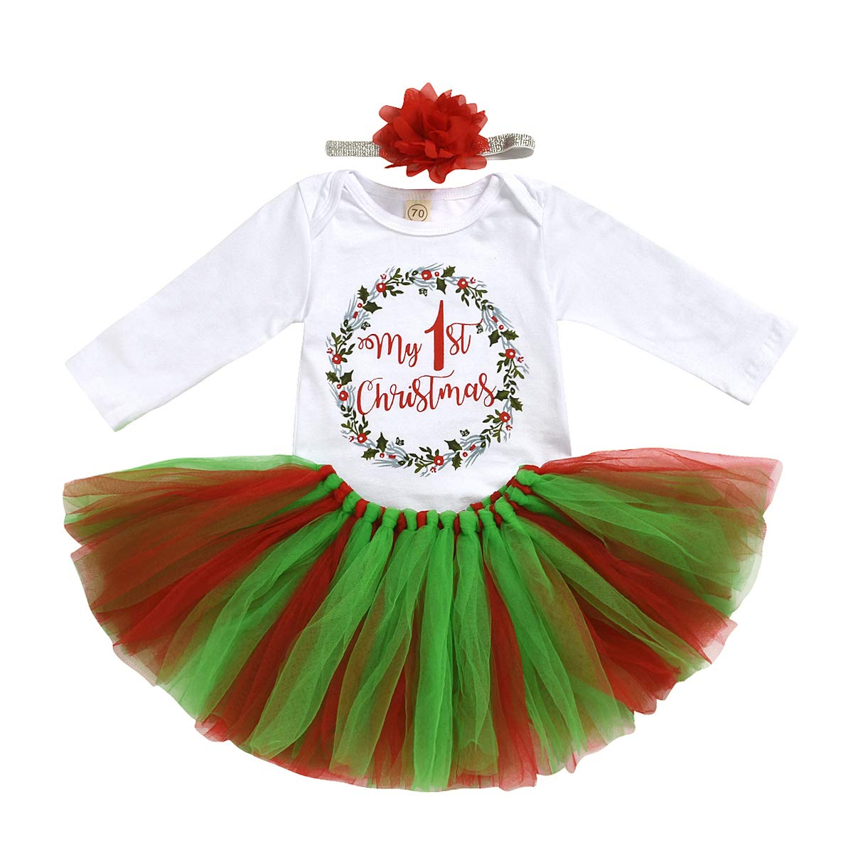 Baby Girls Christmas Outfit My 1st Christmas Romper with Tutu Dress and Baby Bow Headband Outfit Set