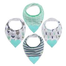 Pickle & Olive Baby/Toddler Bandana Teething Bibs With Attached BPA-Free Silicone Teether, Set Of 4, Water-Resistant, Adjustable Snaps, Best Unique Baby Shower Gift For Moms, Blue Deer