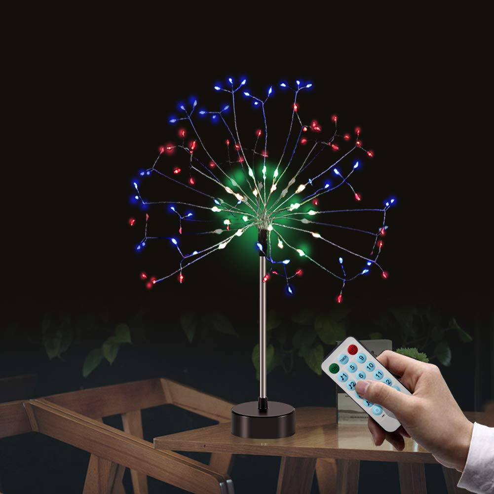 Firework Lights,120 LED 4 Sounds 8 Mode Starburst Fairy Lights with Remote Control, Battery Operated Twinkle String Lights DIY for Living Room,Bedroom,Party,Wedding Decoration (2pc, Multicolor)