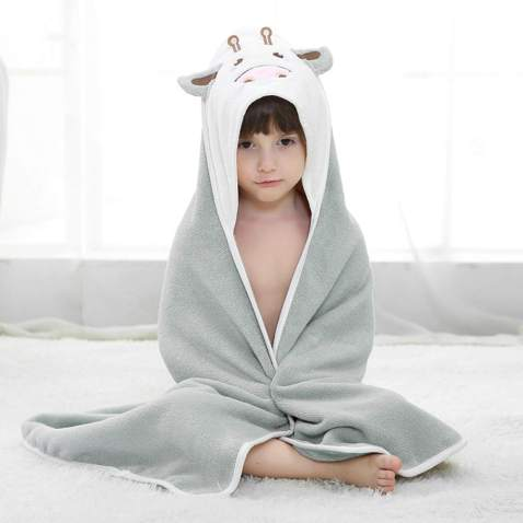 Sealive Animal Face Hooded Baby Towel, Cute Cow Bath Towel for Kids Toddlers, Baby Washcloths Newborn Shower Towels for Boys Girls