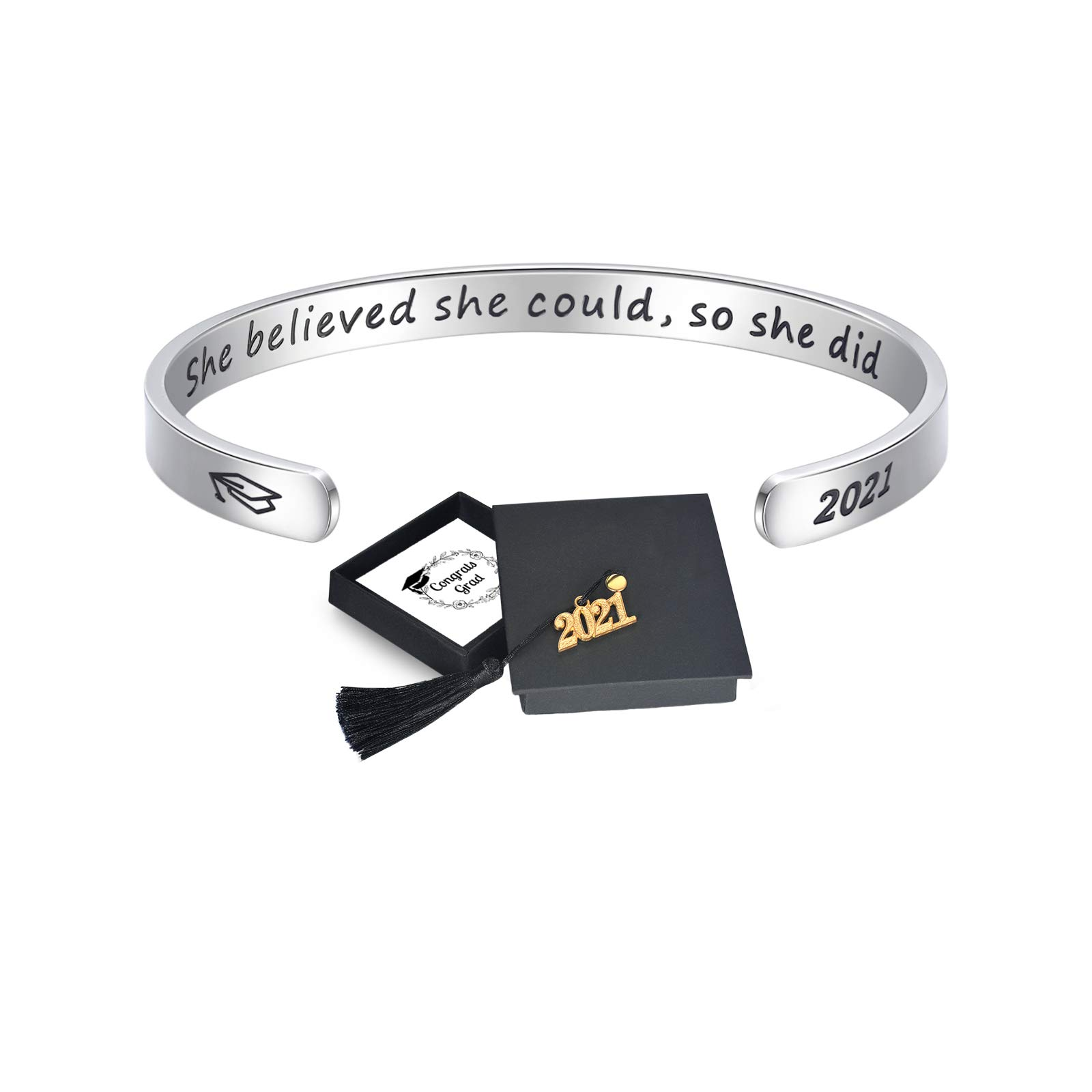 EPIRORA 2021 Inspirational Graduation Gifts for Her Him | She Believe She Could so She Did Cuff Bracelet, Graduation Cap Gift Box Cards for Graduates