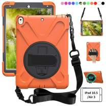 zenrich iPad Air 3 Case 2019, iPad Pro 10.5 Case 2017, 360 Rotating Kickstand Hand Strap & Shoulder Belt Shockproof Heavy Duty Rugged Case for iPad 10.5 inch Tablet 2017/2019 Release-Orange