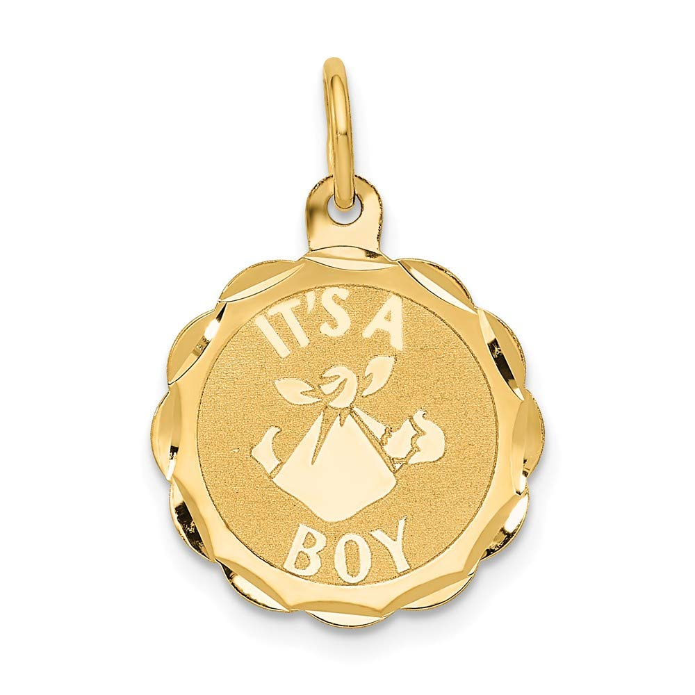 14k Yellow Gold Its A Boy Scalloped Disc Pendant Charm Necklace Baby Fine Jewelry For Women Gifts For Her