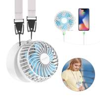 HandFan Personal Necklace Fan Hands-Free Neck Fan with 2600mAh Power Bank and Make-up Mirror Rechargeable Portable Fans Battery Operated 180° Foldable/3 Settings for Travel Outdoors Office (White)