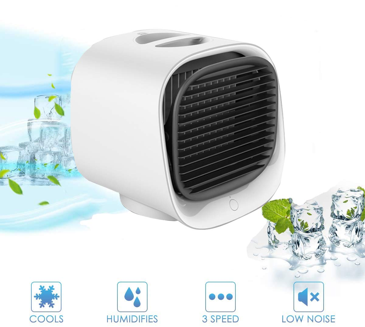 Personal Air Conditioner Fan Purifier Humidifier Desktop Cooling Fan with 3 Speeds Mini Portable Air Cooler Super Quiet Humidifier Misting Fan for Home Office Bedroom Outdoors Travel (Black)