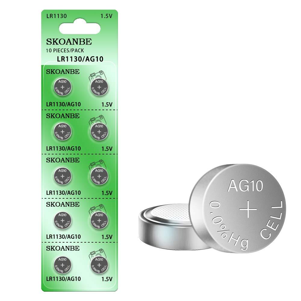 SKOANBE 10PCS AG10 SG10 LR1130 1.5V Button Coin Cell Battery