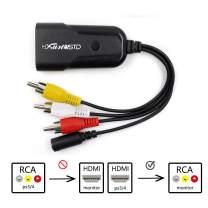 HDMI to AV Adapter Mini HD Video Converter Box HDMI to RCA AV/CVSB L/R Video 1080P HDMI2AV Support NTSC PAL Output