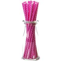 Simply Baked Paper Straw, Fuchsia Quadrafoil, 8-Inch, 25-Pack, Colorful, Disposable, and Compostable
