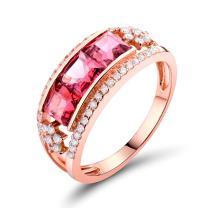 Lanmi Beaufy Women Solid 14K Rose Gold Natural Tourmaline Diamond Wedding Ring